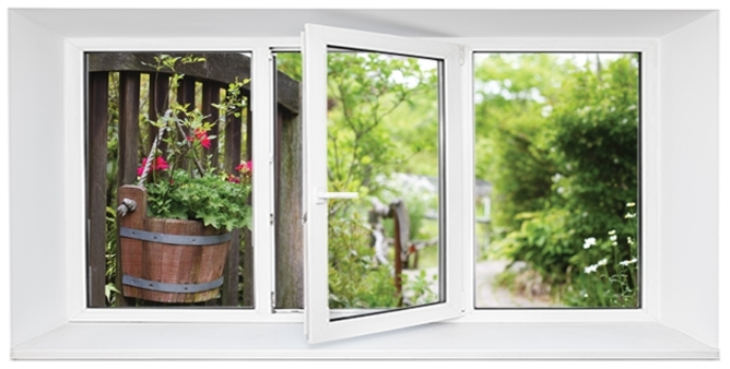 Three panel window with a view to a hanging flower basket outdoors